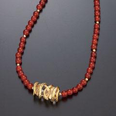 赤めのう金蛇ネックレス