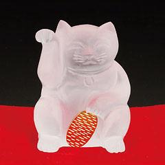 水晶貴石細工猫に小判の招き猫