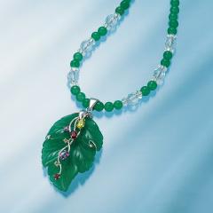 華やぎ 木の葉の宝石ネックレス