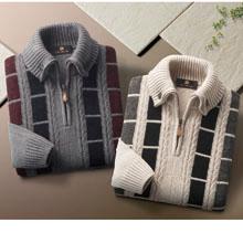 ドンキー襟 紳士のふんわりセーター2色組