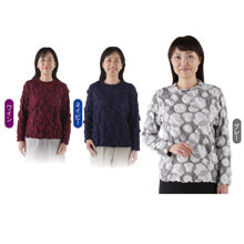 華やぎ 長袖ふくれジャカードプルオーバー(2色組)
