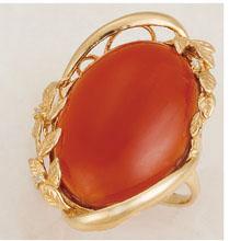 15ct赤メノウダイヤリング