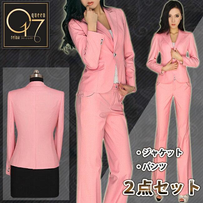 P10倍【スーパーSALE 期間限定50%OFF】【送料無料】ハイクオリティー個性派ピンクのスーツ (hq-suit-09)