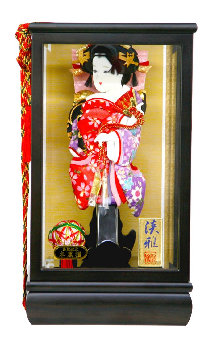 羽子板 初正月 ケース飾り 道成寺 振袖 縮緬 9号 本黒檀 fz-1gt1350b-152gt 人形屋ホンポ