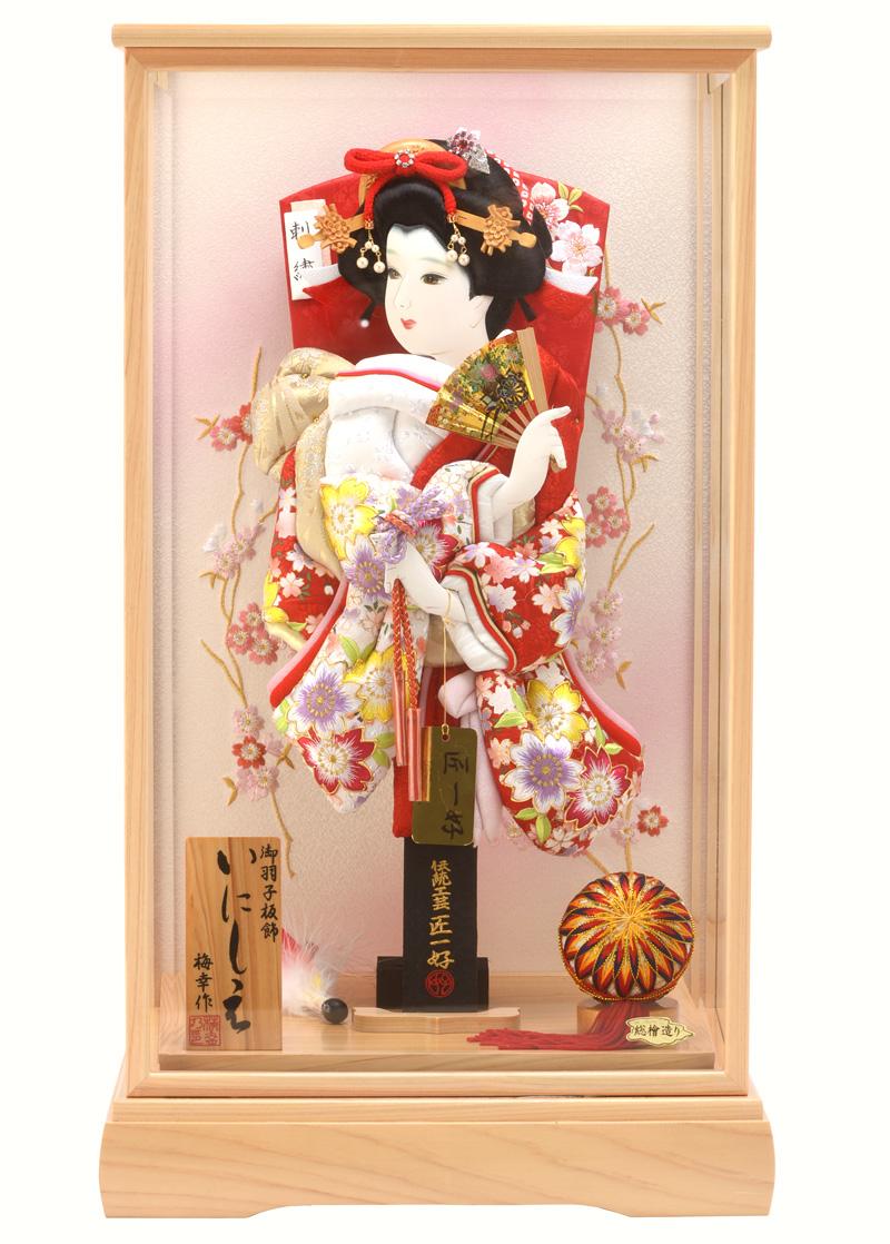 羽子板 初正月 ケース飾り 横振桜 赤 15号 いにしえ h281-set-skt-28-15-15 人形屋ホンポ