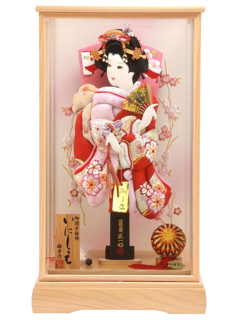 羽子板 初正月 ケース飾り 刺繍切りじめ花づくし 15号 いにしえ h281-set-skt-28-15-9 人形屋ホンポ