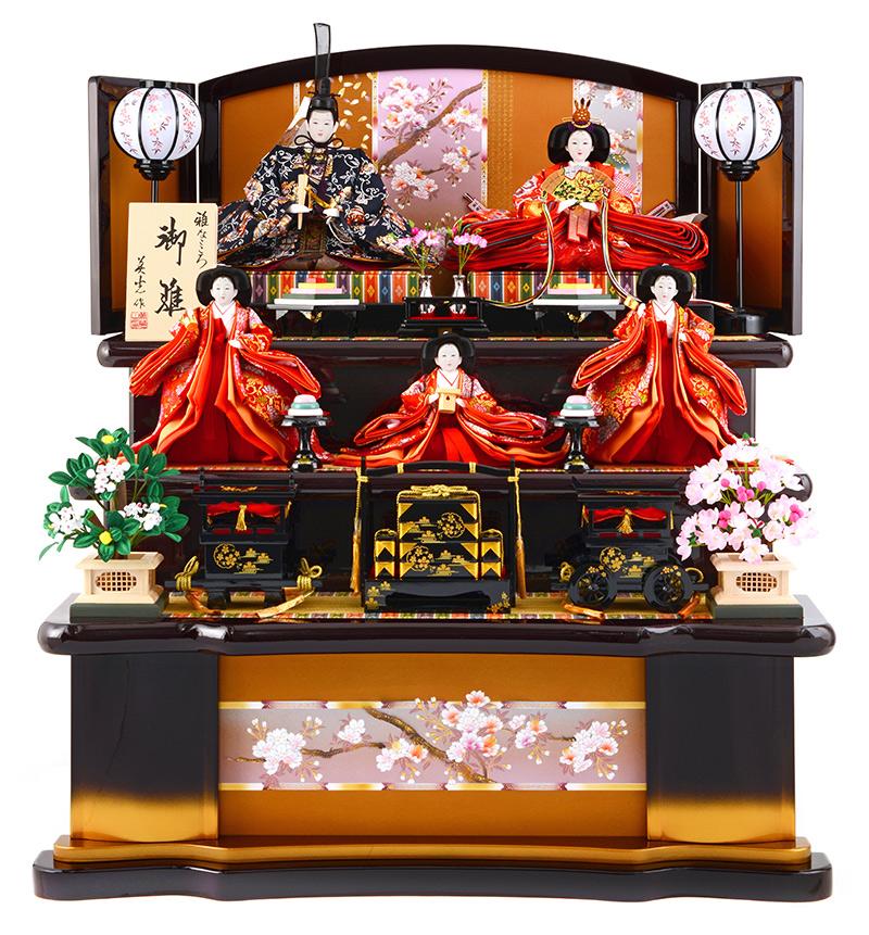 雛人形 特選 ひな人形 雛 三段飾り 五人飾り 雛人形 特選 京彩 葡萄塗り 御雛 雅なこころ 木製三段 お雛様 おひなさま h263-sb-kyosai 【sr10tms】 おしゃれ かわいい 人形屋ホンポ
