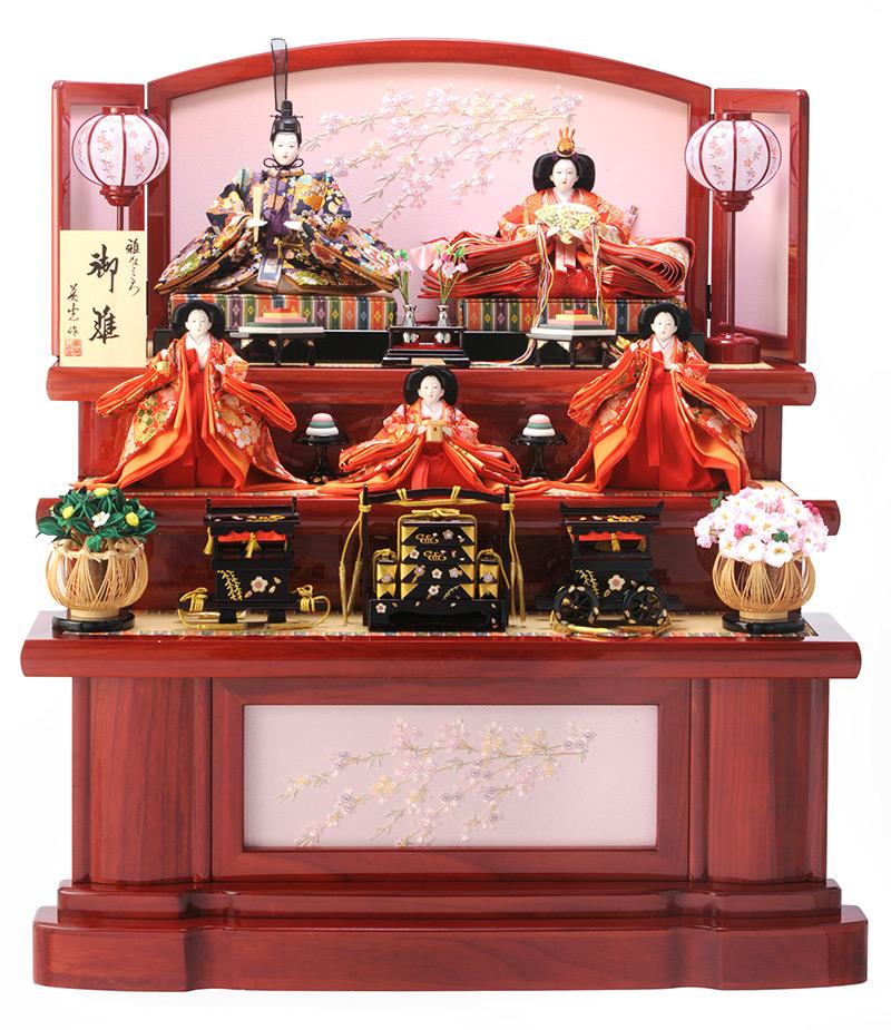 雛人形 特選 ひな人形 雛 三段飾り 五人飾り 雛人形 特選 優美 赤塗り 御雛 雅なこころ 木製三段 お雛様 おひなさま h263-sb-yubi-a おしゃれ かわいい 人形屋ホンポ