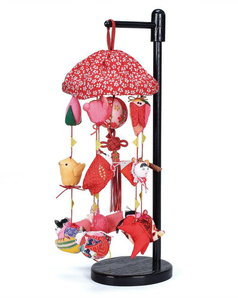 雛人形 ひな人形 雛 つるし飾り つるし雛 さげもん まり飾り (ミニ) 傘付 飾り台付 【2018年度新作】 h303-fz-3620-09-012 【dl】0250ya