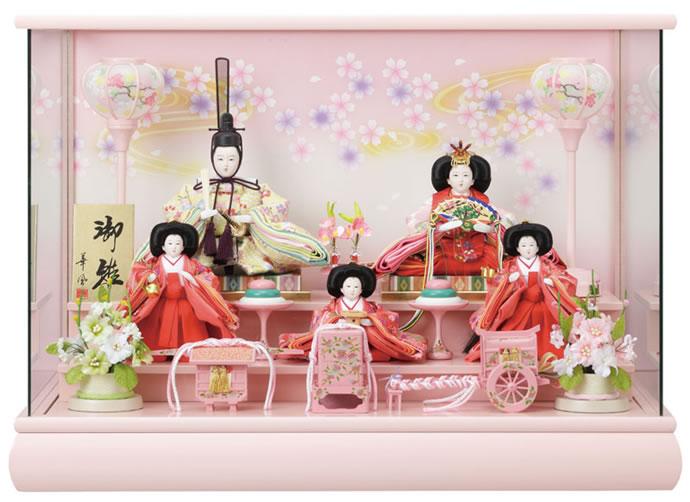 雛人形 特選 ひな人形 雛 ケース飾り 五人飾り オルゴール付 【2015年度新作】 h243-fz-3s83534 おしゃれ かわいい 人形屋ホンポ