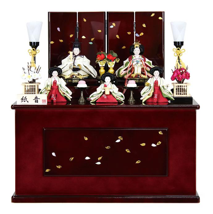 雛人形 特選 ひな人形 小さい 雛 コンパクト 収納飾り 五人飾り 紙音 溜塗 【2015年度新作】 h243-fz-42-1380 おしゃれ かわいい 人形屋ホンポ