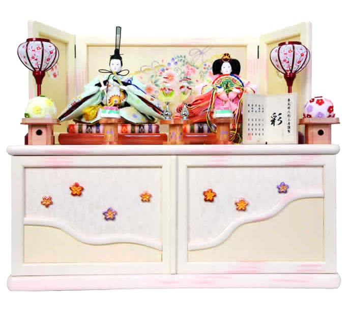 雛人形 特選 ひな人形 小さい 雛 コンパクト収納飾り 雛 親王飾り 雛人形 特選 彩 お雛様 おひなさま mi-7401 おしゃれ かわいい 人形屋ホンポ