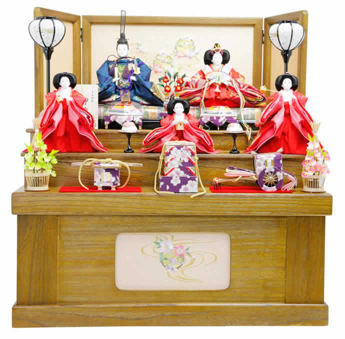 雛人形 特選 ひな人形 小さい 雛 コンパクト収納飾り 雛 三段飾り 五人飾り 雛 名匠・逸品飾り 雛人形 特選 御雛 平安調飾り お雛様 おひなさま mi-7503 おしゃれ かわいい 人形屋ホンポ