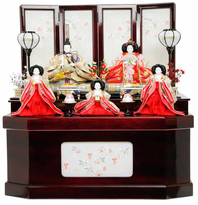 雛人形 特選 ひな人形 小さい 雛 コンパクト収納飾り 五人飾り 雛 名匠・逸品飾り 雛人形 特選 御雛 平安調飾り お雛様 おひなさま mi-7526 おしゃれ かわいい 人形屋ホンポ