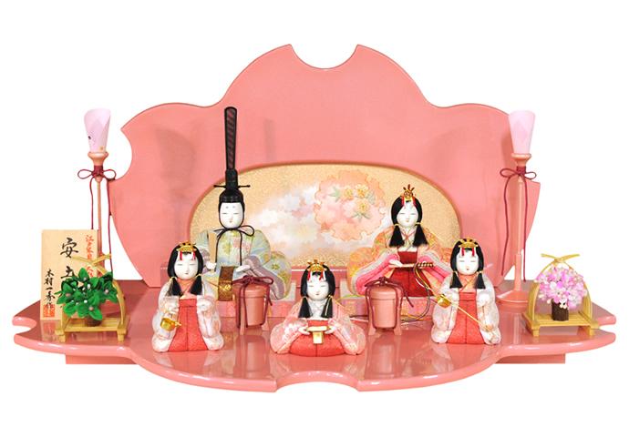 雛人形 特選 一秀 ひな人形 雛 平飾り 五人飾り 木目込み人形 一秀作 安土雛 15号 【2019年度新作】 h243-is-034 おしゃれ かわいい 人形屋ホンポ