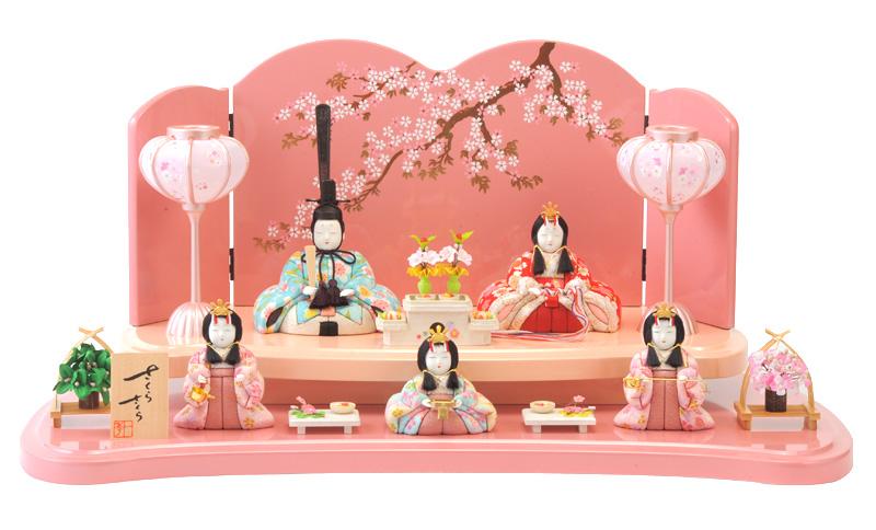 雛人形 一秀 ひな人形 雛 木目込人形飾り 段飾り 五人飾り 木村一秀作 さくらさくら 15-3号 【2019年度新作】 h313-ic-111