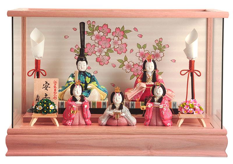 雛人形 一秀 ひな人形 雛 木目込人形飾り ケース飾り 五人飾り 木村一秀作 安土雛 14号 【2019年度新作】 h313-ii-001