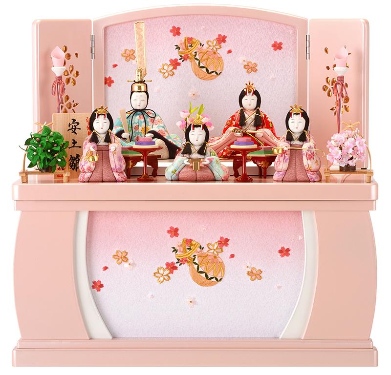 雛人形 特選 一秀 ひな人形 小さい 限定品 木目込み 雛 木目込人形飾り コンパクト収納飾り 五人飾り 安土雛 h283-miik-111 おしゃれ かわいい 人形屋ホンポ