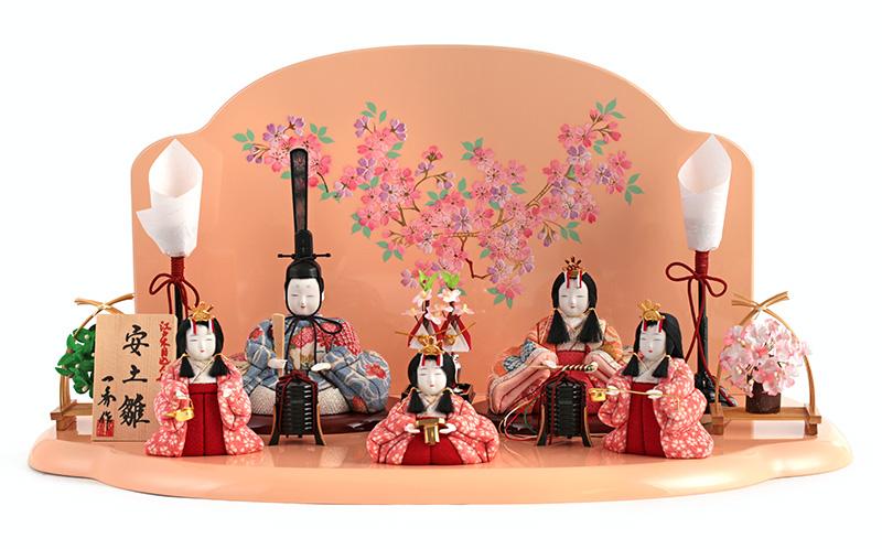 雛人形 特選 一秀 ひな人形 雛 木目込人形飾り 平飾り 五人飾り 木村一秀作 安土雛 15-6号 【2019年度新作】 h313-ii-021