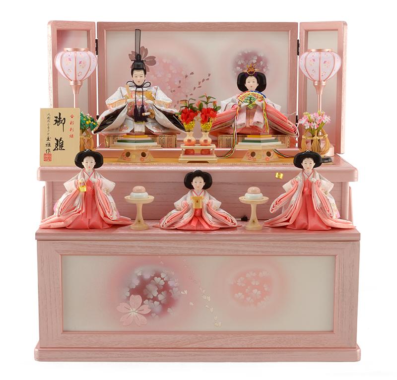 雛人形 特選 ひな人形 小さい 雛 コンパクト収納飾り 五人飾り 雛 名匠・逸品飾り 雛人形 特選 玉雅作 御雛 金彩刺繍 お雛様 おひなさま h253-kit-3132-3138 おしゃれ かわいい 人形屋ホンポ