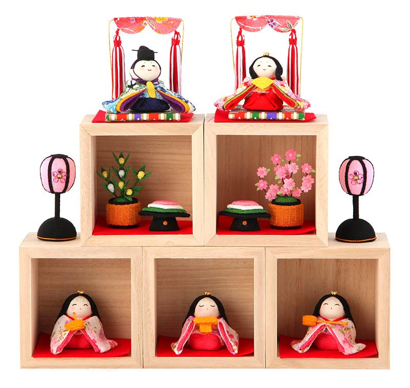 雛人形 リュウコドウ ちりめん コンパクト ひな人形 雛 五人飾り 箱段お飾りセット 升入り ラインストーン付 【2019年度新作】 h303-rkcp-1-794_4 おしゃれ かわいい 人形屋ホンポ