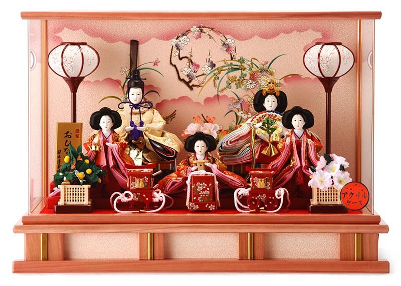 雛人形 ひな人形 小さい コンパクト 雛 ケース飾り 五人飾り 雛人形 小芥子五人 アクリルケース お雛様 おひなさま h263-sg-3-25p おしゃれ かわいい 人形屋ホンポ
