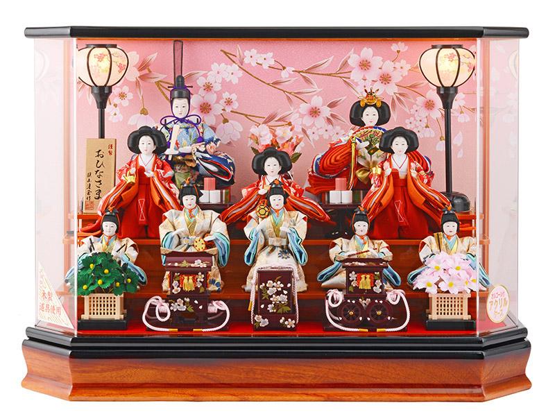 雛人形 ひな人形 小さい コンパクト 雛 ケース飾り 十人飾り 雛人形 木製道具使用 アクリルケース オルゴール付 お雛様 おひなさま h263-sg-4-11oh