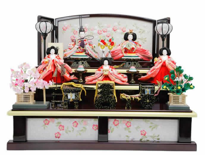 雛人形 特選 ひな人形 雛 三段飾り 五人飾り 華芳作 舞雛 h243-aka-10-25 おしゃれ かわいい 人形屋ホンポ