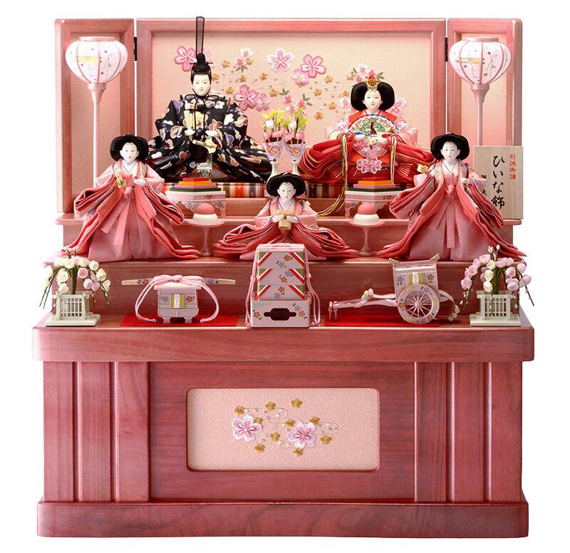 雛人形 特選 ひな人形 小さい 雛 コンパクト収納飾り 雛 三段飾り 五人飾り 雛人形 特選 ひな飾り お雛様 おひなさま h263-hs-3-307-s-2 おしゃれ かわいい 人形屋ホンポ
