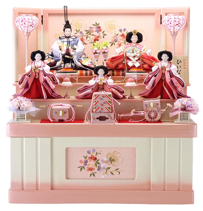 雛人形 特選 ひな人形 小さい 雛 コンパクト収納飾り 雛 三段飾り 五人飾り 雛人形 特選 平安調飾り 御雛 お雛様 おひなさま h263-hs-3-317-s 【sr10tms】 おしゃれ かわいい 人形屋ホンポ