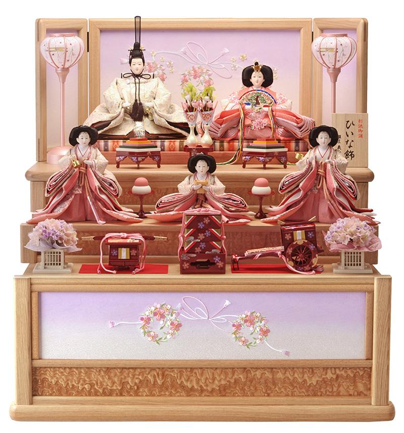 雛人形 特選 ひな人形 小さい 雛 コンパクト収納飾り 雛 三段飾り 五人飾り 雛人形 特選 ひいな飾り お雛様 おひなさま h263-hs-t3-356-s おしゃれ かわいい 人形屋ホンポ