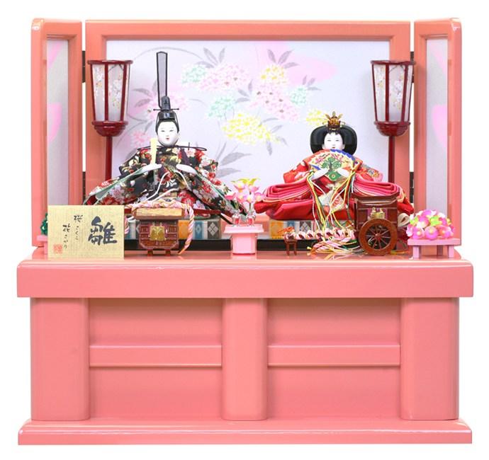 雛人形 特選 ひな人形 小さい 雛 コンパクト収納飾り 雛 親王飾り 雛人形 特選 ラメピンク塗 お雛様 おひなさま wt-8-kesi-rame-p おしゃれ かわいい 人形屋ホンポ