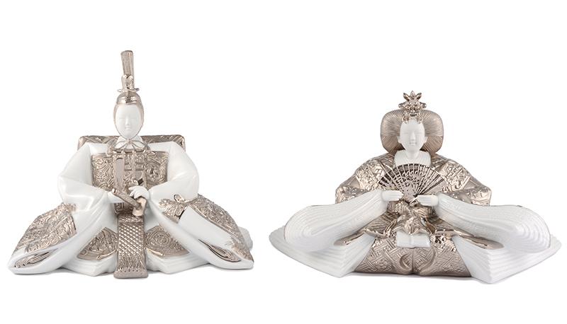 雛人形 陶器 ひな人形 雛 親王飾り 人形単品 雛人形 陶器 ミンロン社製 ポーセリン雛 磁器人形 陶器の雛人形 陶器 プラチナ お雛様 おひなさま h273-ml-platinum おしゃれ かわいい 人形屋ホンポ