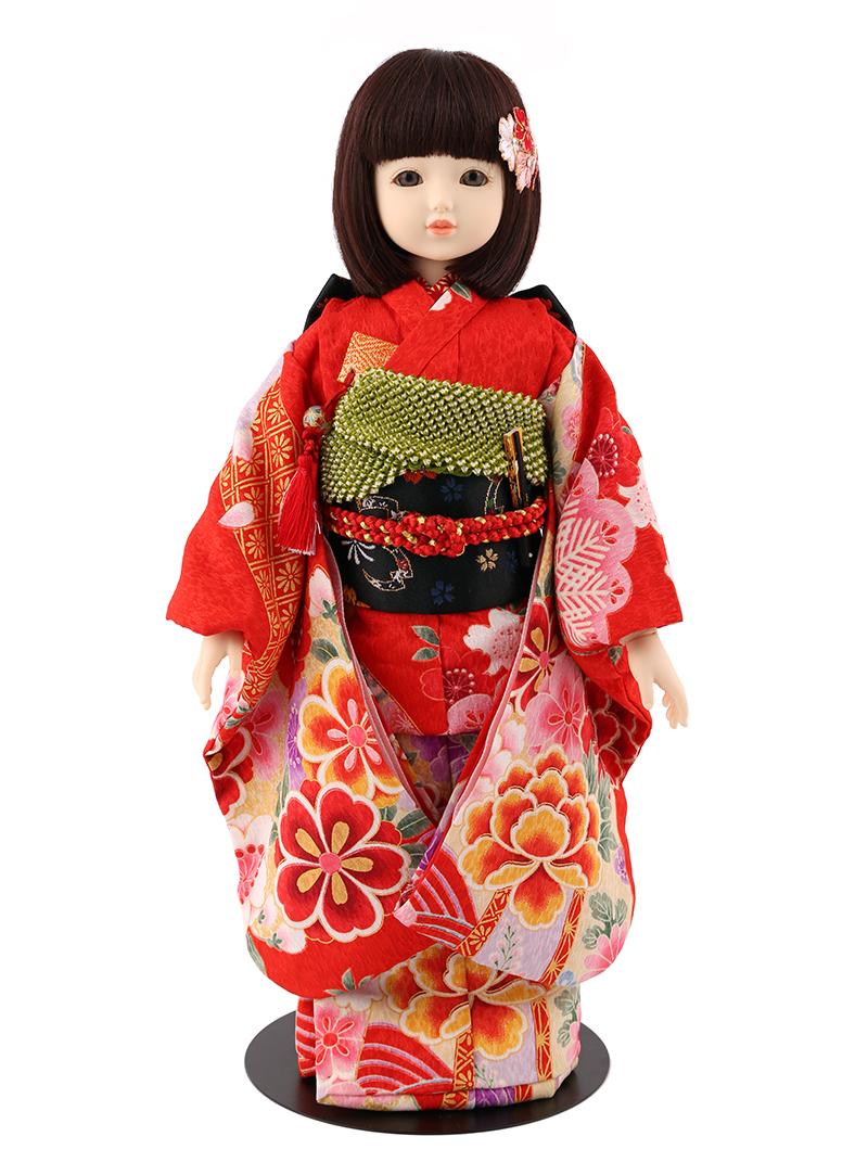 ドールファン必見 遊べるお人形 球体関節人形 aya 着物セット 赤 ショートボブ(レッドブラウン) mimy-a-brsb-jaw01 人形屋ホンポ