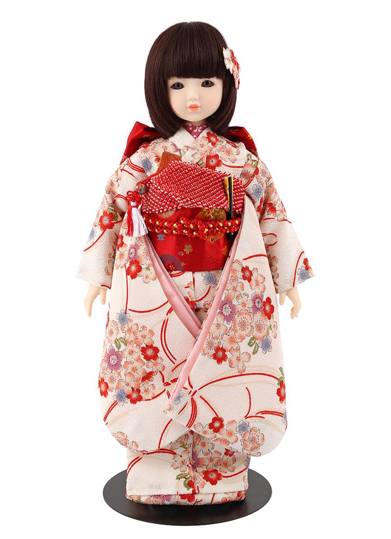 ドールファン必見 遊べるお人形 球体関節人形 aya 着物セット 白 ショートボブ(レッドブラウン) mimy-a-brsb-jaw03 人形屋ホンポ