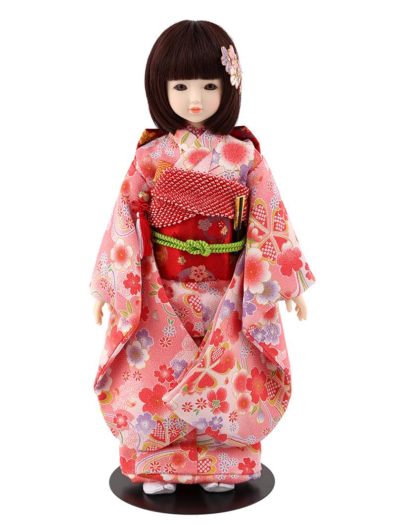 ドールファン必見 遊べるお人形 球体関節人形 aya 着物セット ピンク 梅 ショートボブ(レッドブラウン) mimy-a-brsb-jaw04 人形屋ホンポ