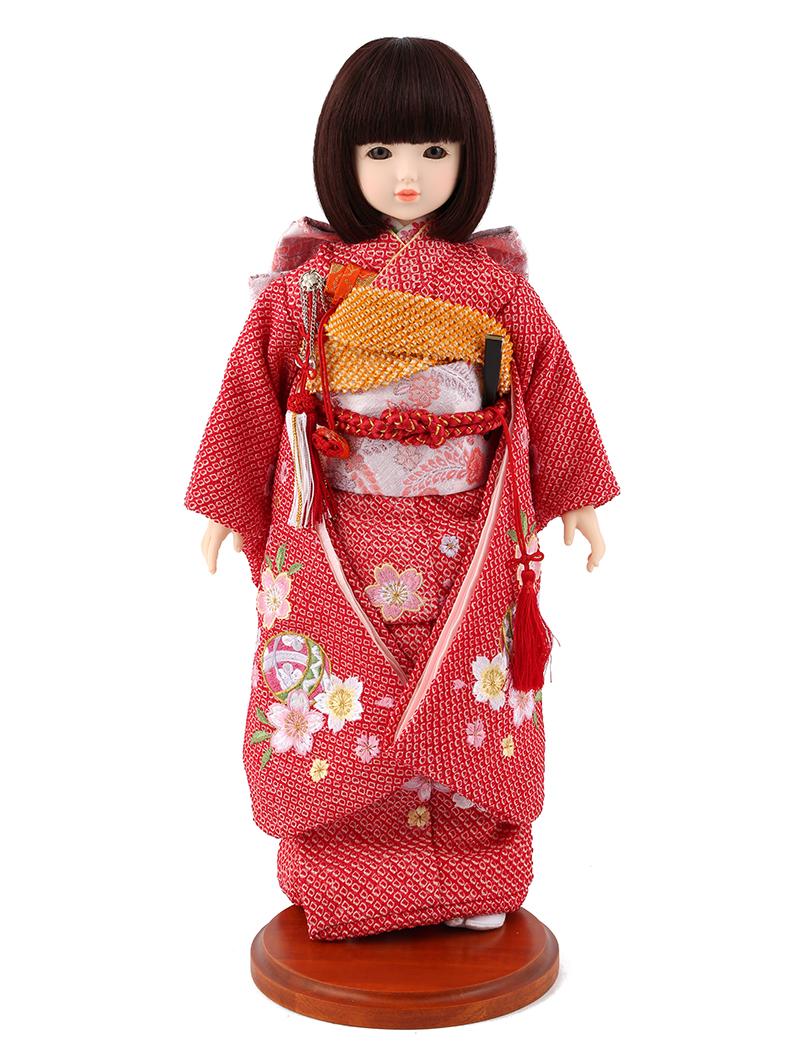ドールファン必見 遊べるお人形 球体関節人形 aya 着物セット 正絹 赤絞り 桜に鞠 刺繍 ショートボブ(レッドブラウン) スタンド付 mimy-a-brsb-jaw20 人形屋ホンポ