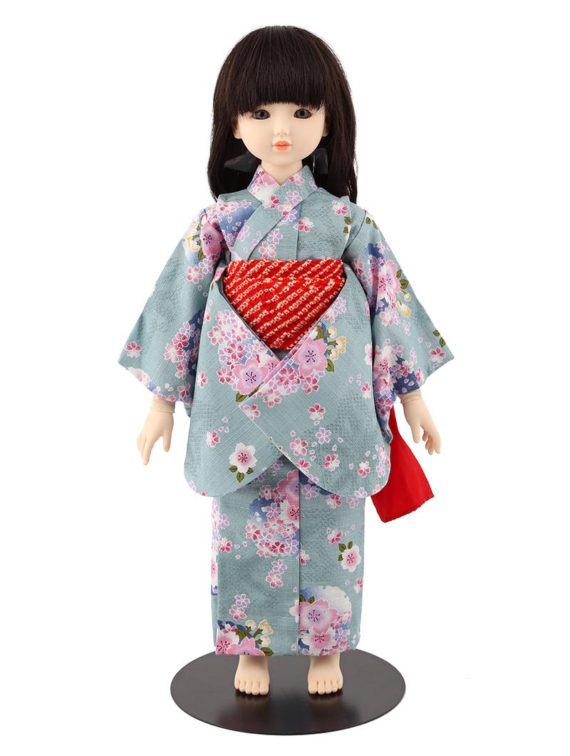 ドールファン必見 遊べるお人形 球体関節人形 aya 浴衣セット 水色 桜 ロングウェーブ(ブラック) mimy-a-bllw-jay04 人形屋ホンポ