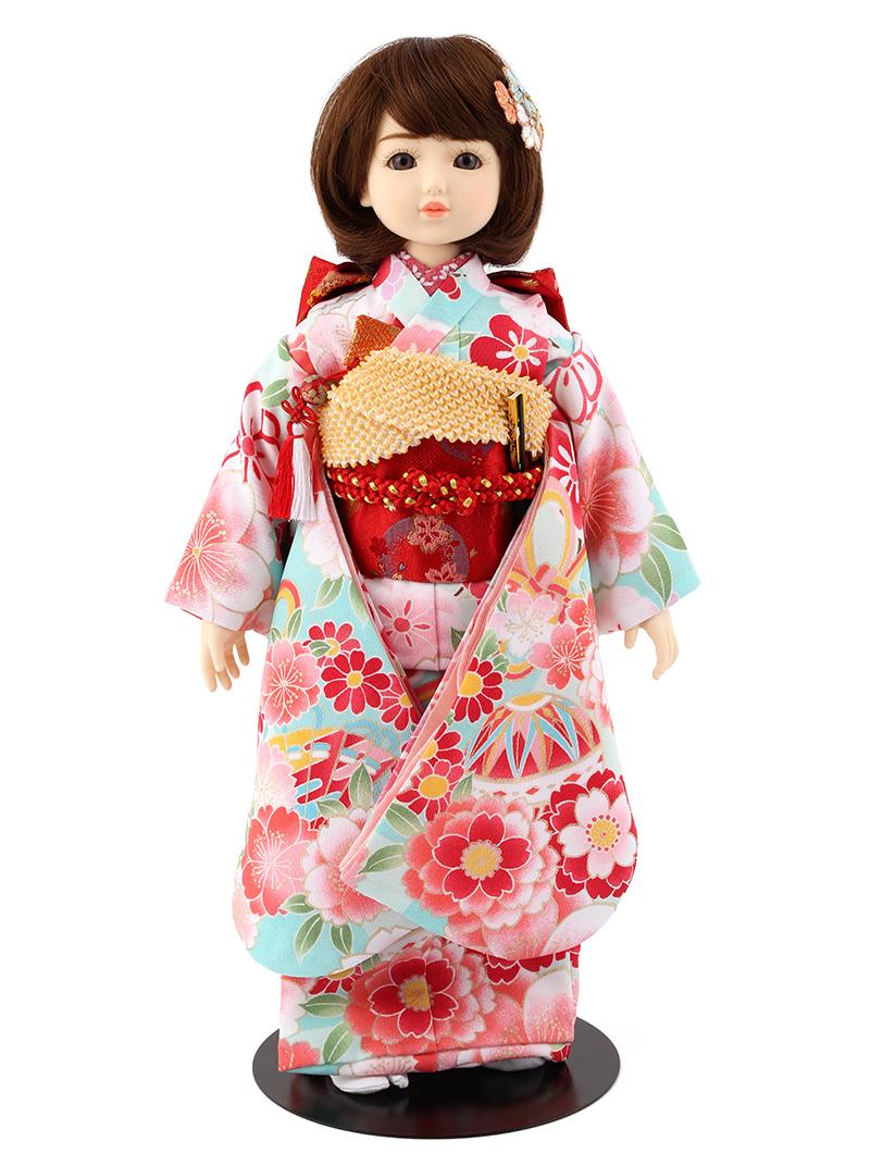 ドールファン必見 遊べるお人形 球体関節人形 aya 着物セット 水色 ショートカール(ブラウン) mimy-a-brsc-jaw02 人形屋ホンポ