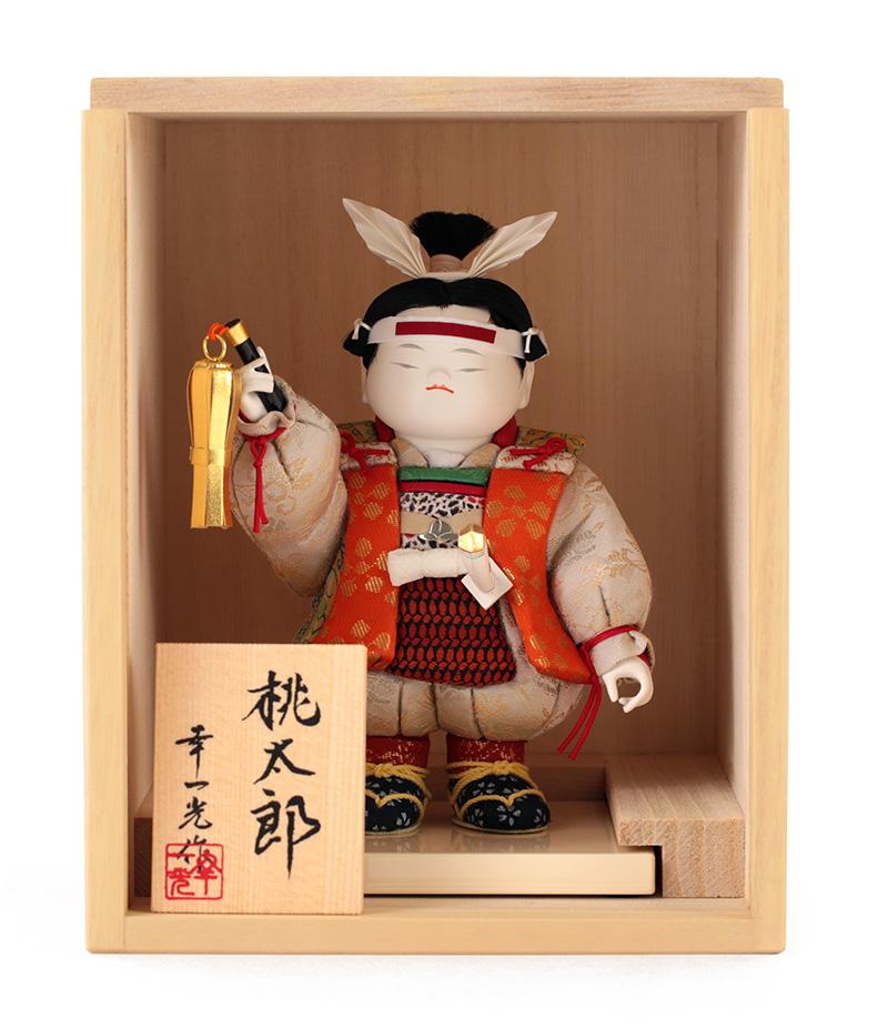 送料無料 最安値に挑戦 2021年度新作 五月人形 幸一光 桐箱付き 新商品 浮世人形 桃太郎 h035-koi-momo-ki