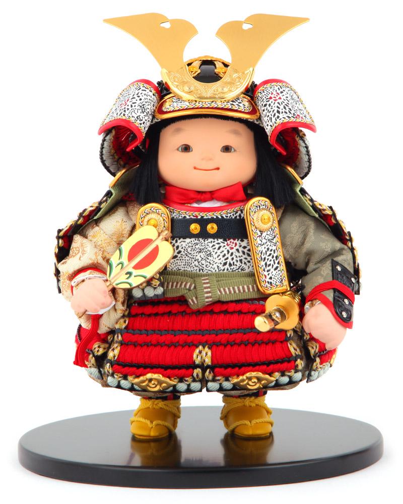 五月人形 幸一光 松崎人形 子供大将人形単品 月丸 つきまる 黒小札 正絹 赤糸縅 【2019年度新作】 h315-koi-510a