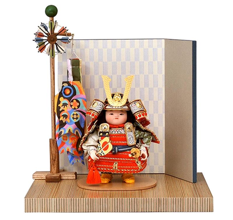 五月人形 幸一光 松崎人形 子供大将飾り 平飾り 鷹丸 たかまる 金小札 正絹 紅赤威 ペーパーウッド飾台 片袖二曲屏風 鯉幟付 【2019年度新作】 h275-koi-5030
