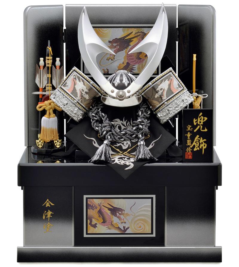 五月人形 収納 兜 飾り収納兜飾り 宝童 銀竜彫金はやぶさ兜 (B) 10号 h305-mm-129【収納兜飾り】【収納】
