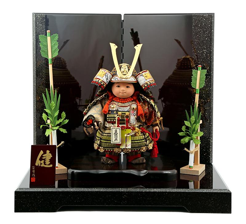 五月人形 子供大将飾り 武者人形 公司作 表情人形 健 鎧着セット mi-ken-yoroi-h4【2019年度新作】五月人形 子供大将 鎧 飾り 人形屋ホンポ