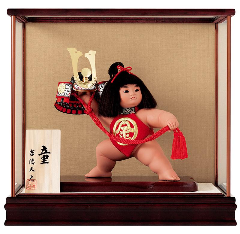 五月人形 吉徳 金太郎 浮世人形 ケース飾り 8号 童 兜持ち 【2019年度新作】 h315-ys-503261