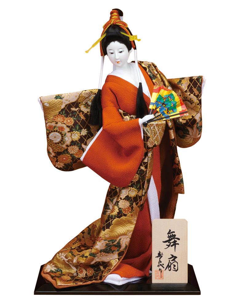 日本人形 尾山人形 人形単品 寿喜代作 舞扇 金らん 10号 【2020年度新作】 sk-o1593