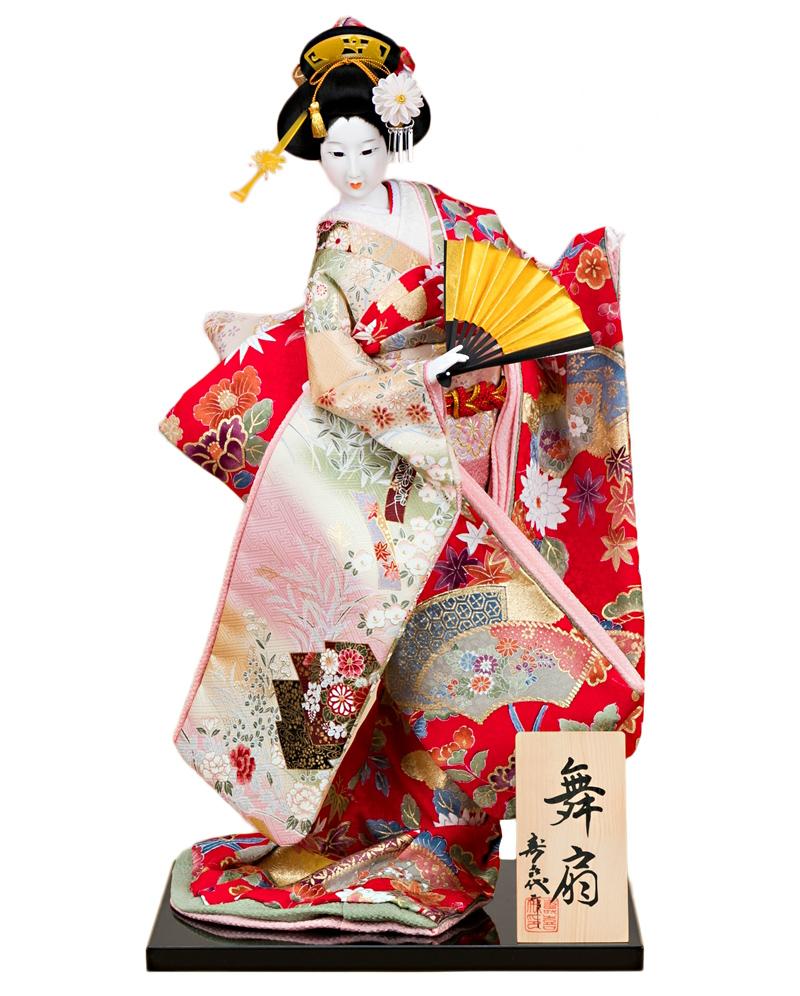 日本人形 尾山人形 人形単品 寿喜代作 舞扇 正絹 12号 【2020年度新作】 sk-o2627