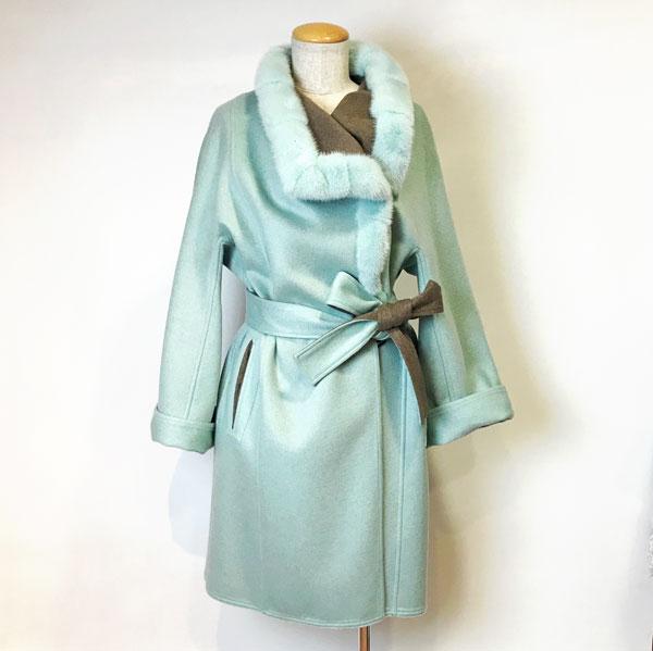 カシミヤ&ミンクコート カシミヤと毛皮、暖かい、