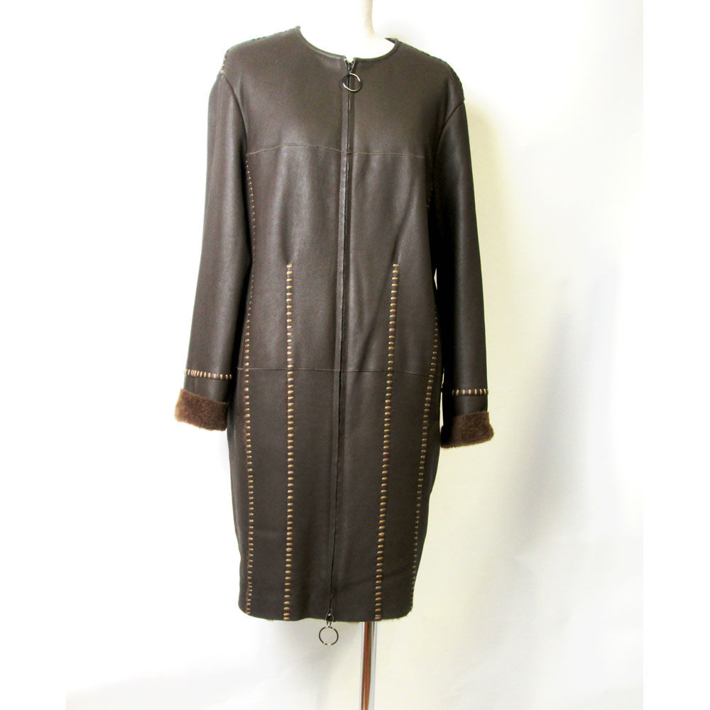 ムートンWフェイスノーカラーコート(襟なし) NEWデザイン とにかく軽い realfur