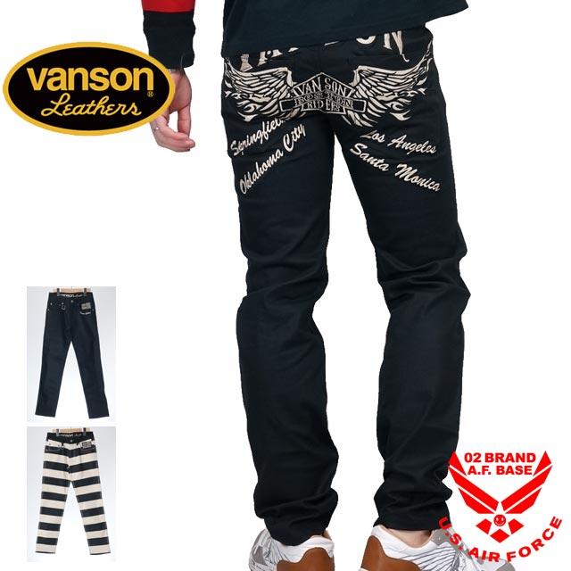 バンソン 刺繍ストレッチ ツイルパンツ メンズ VANSON sp-b-22